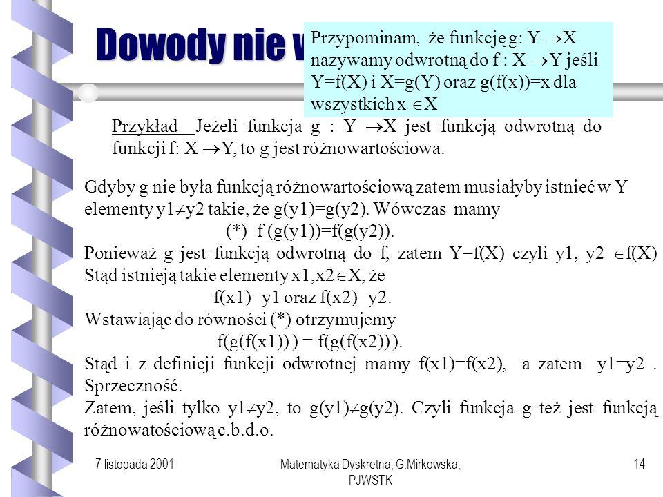 Matematyka Dyskretna, G.Mirkowska, PJWSTK