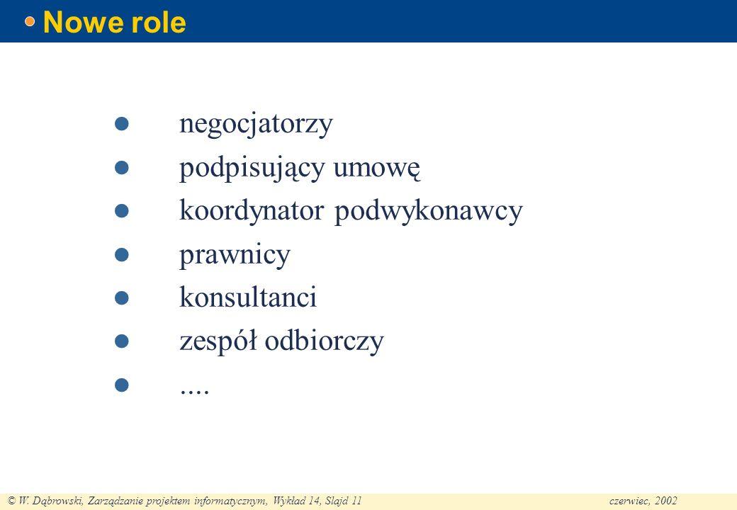 Nowe role negocjatorzy. podpisujący umowę. koordynator podwykonawcy. prawnicy. konsultanci. zespół odbiorczy.