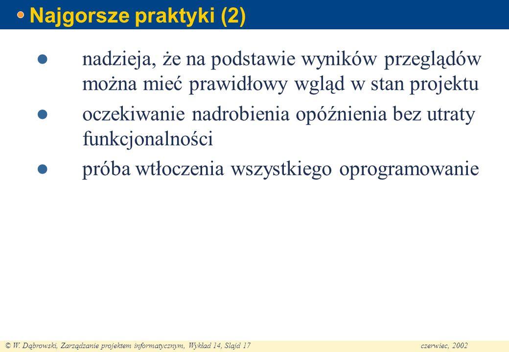 Najgorsze praktyki (2) nadzieja, że na podstawie wyników przeglądów można mieć prawidłowy wgląd w stan projektu.