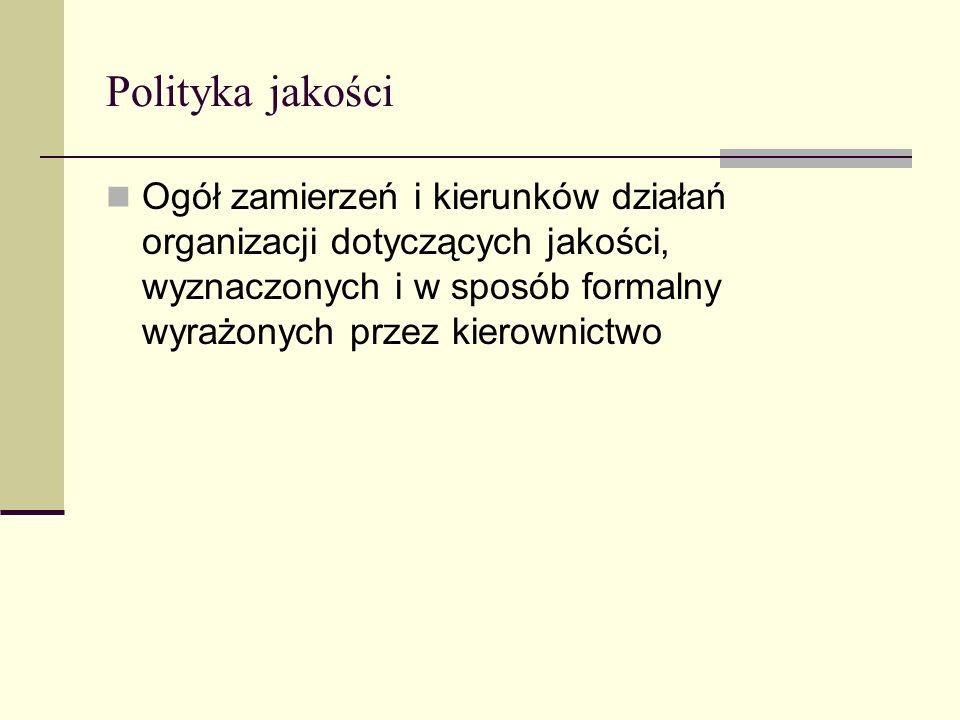 Polityka jakości Ogół zamierzeń i kierunków działań organizacji dotyczących jakości, wyznaczonych i w sposób formalny wyrażonych przez kierownictwo.