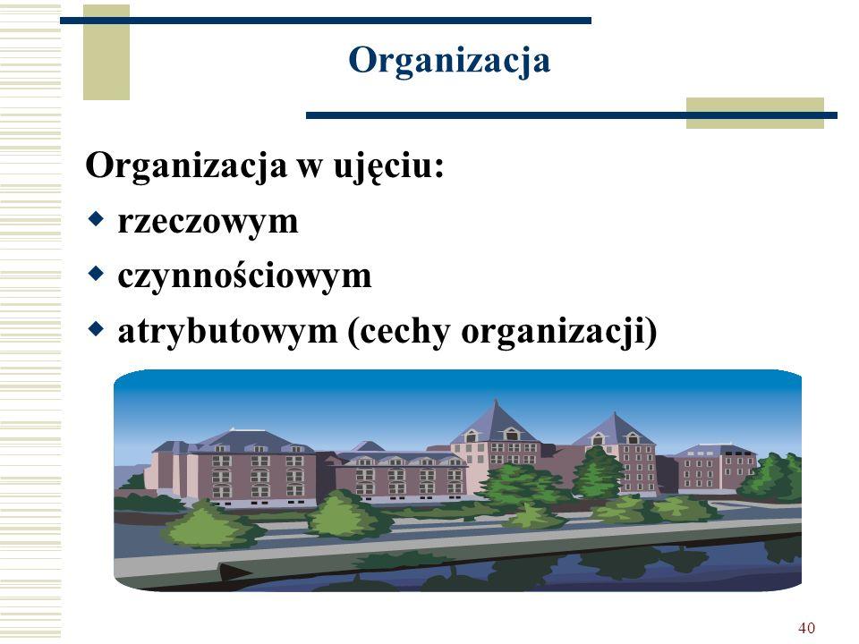 Organizacja Organizacja w ujęciu: rzeczowym czynnościowym atrybutowym (cechy organizacji)