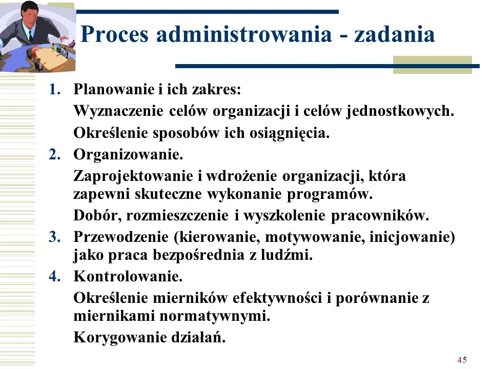 Proces administrowania - zadania
