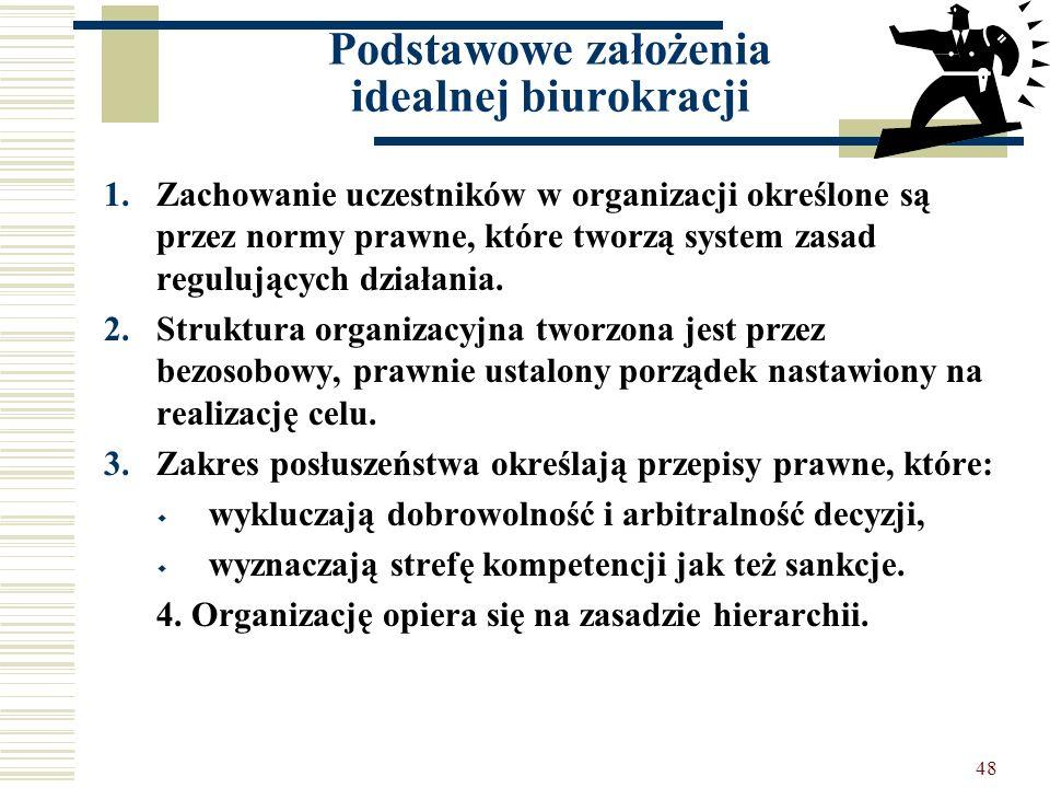 Podstawowe założenia idealnej biurokracji