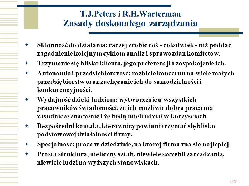 T.J.Peters i R.H.Warterman Zasady doskonałego zarządzania