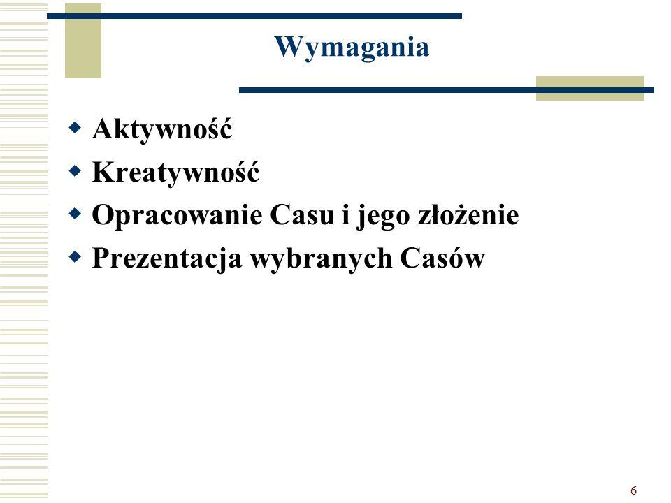Wymagania Aktywność Kreatywność Opracowanie Casu i jego złożenie Prezentacja wybranych Casów