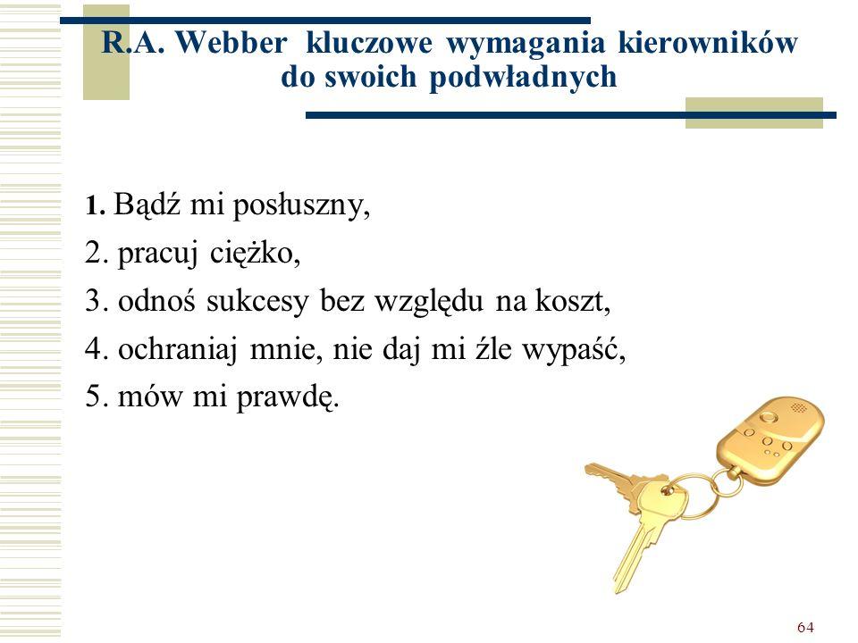 R.A. Webber kluczowe wymagania kierowników do swoich podwładnych
