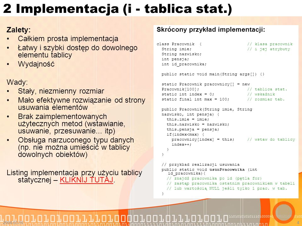 2 Implementacja (i - tablica stat.)