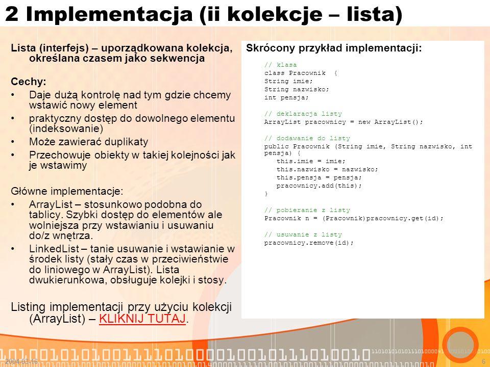 2 Implementacja (ii kolekcje – lista)