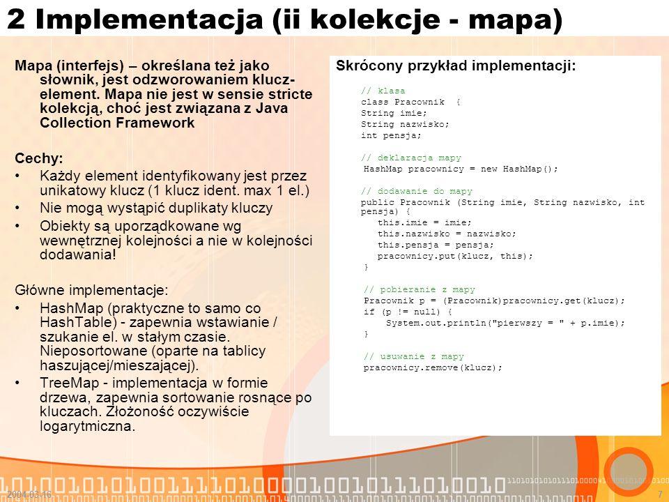 2 Implementacja (ii kolekcje - mapa)