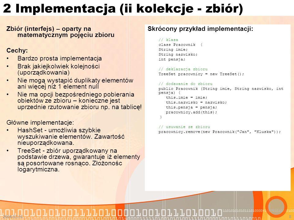 2 Implementacja (ii kolekcje - zbiór)