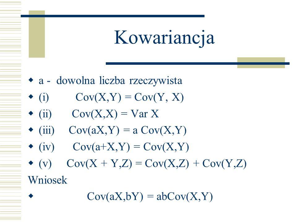 Kowariancja a - dowolna liczba rzeczywista (i) Cov(X,Y) = Cov(Y, X)