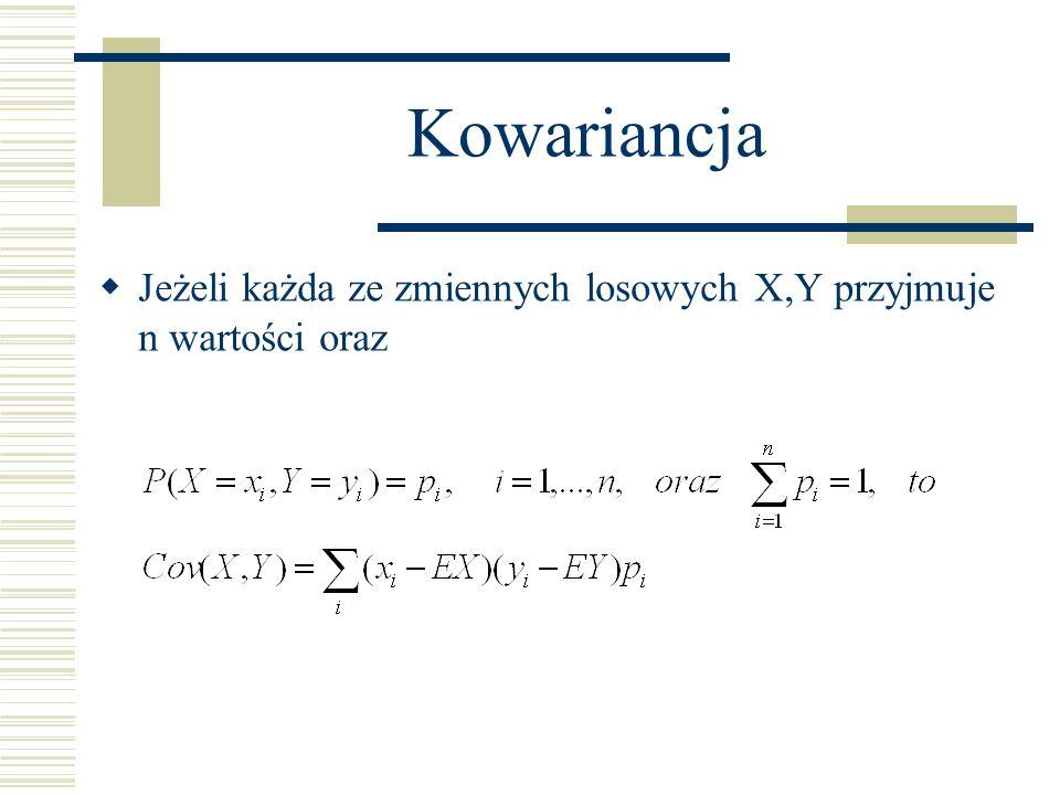Kowariancja Jeżeli każda ze zmiennych losowych X,Y przyjmuje n wartości oraz