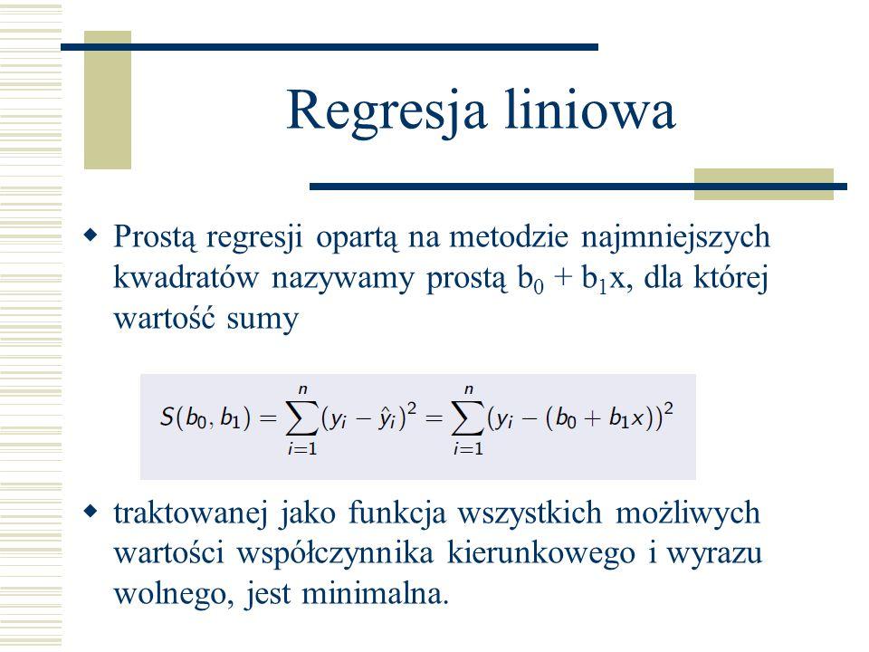 Regresja liniowaProstą regresji opartą na metodzie najmniejszych kwadratów nazywamy prostą b0 + b1x, dla której wartość sumy.