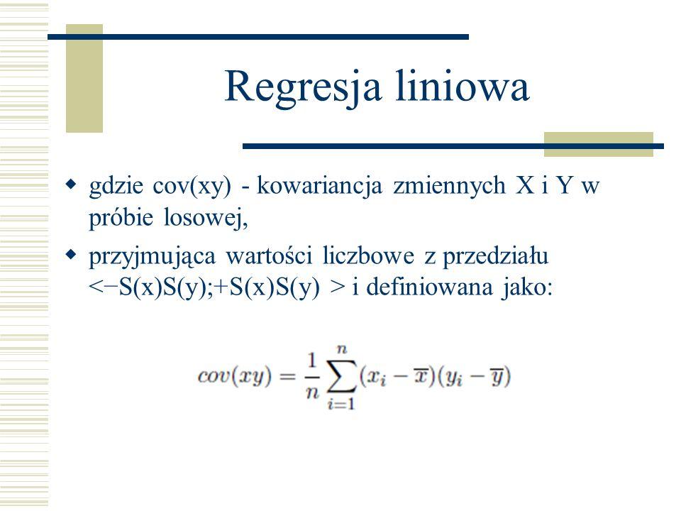 Regresja liniowa gdzie cov(xy) - kowariancja zmiennych X i Y w próbie losowej,