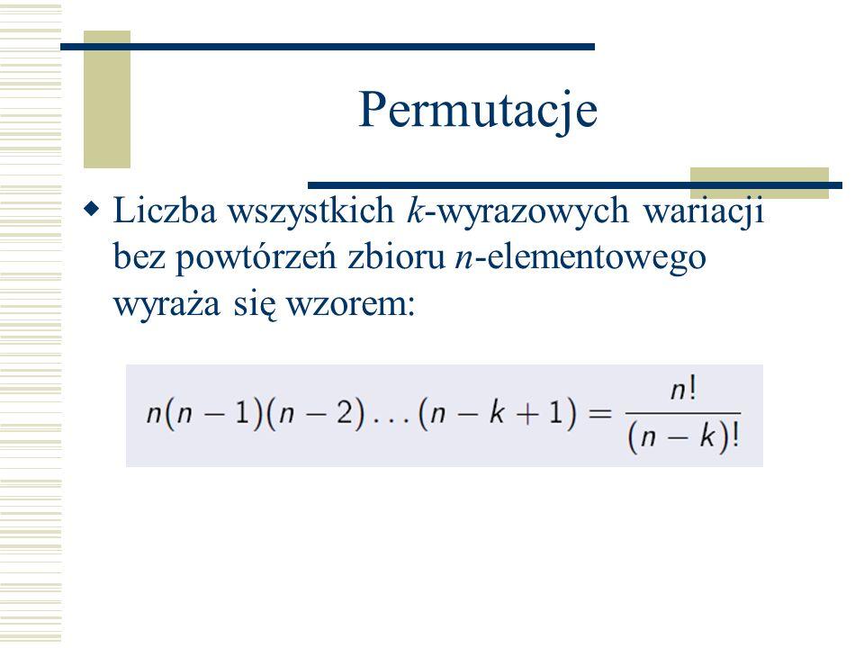 Permutacje Liczba wszystkich k-wyrazowych wariacji bez powtórzeń zbioru n-elementowego wyraża się wzorem:
