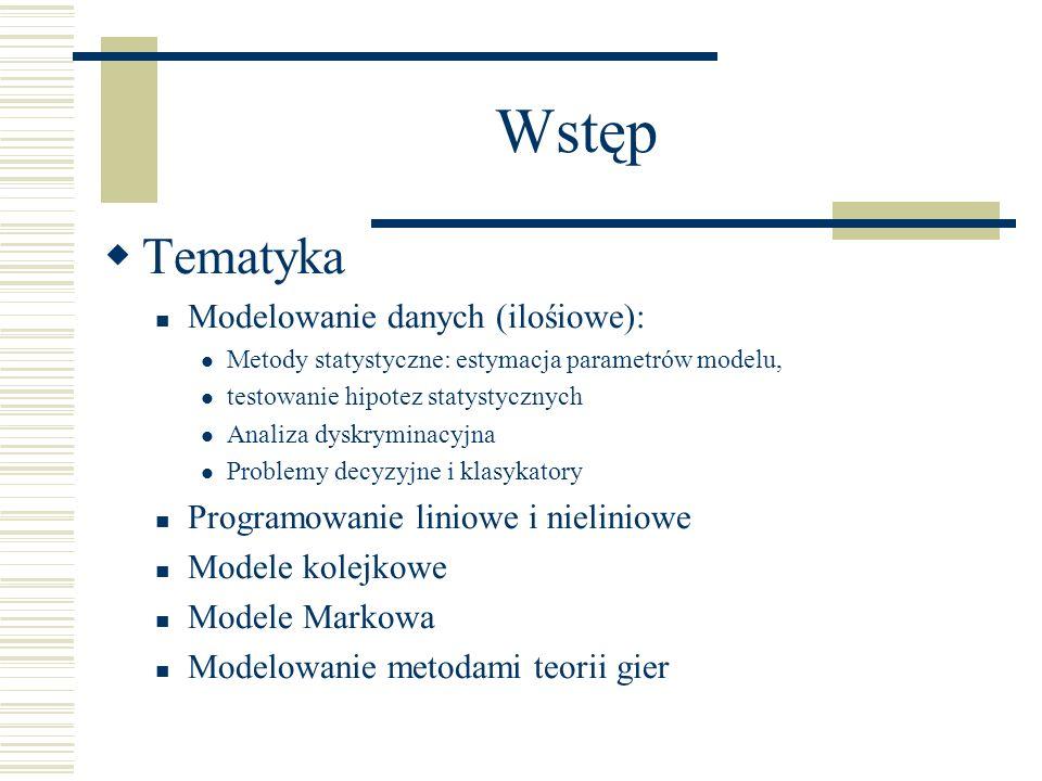 Wstęp Tematyka Modelowanie danych (ilośiowe):