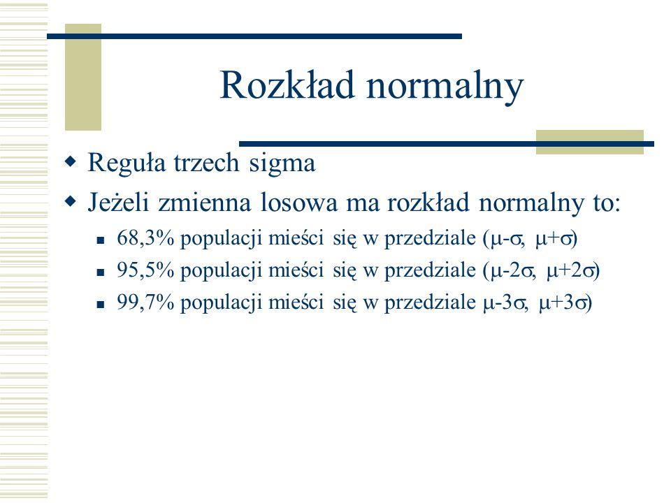 Rozkład normalny Reguła trzech sigma