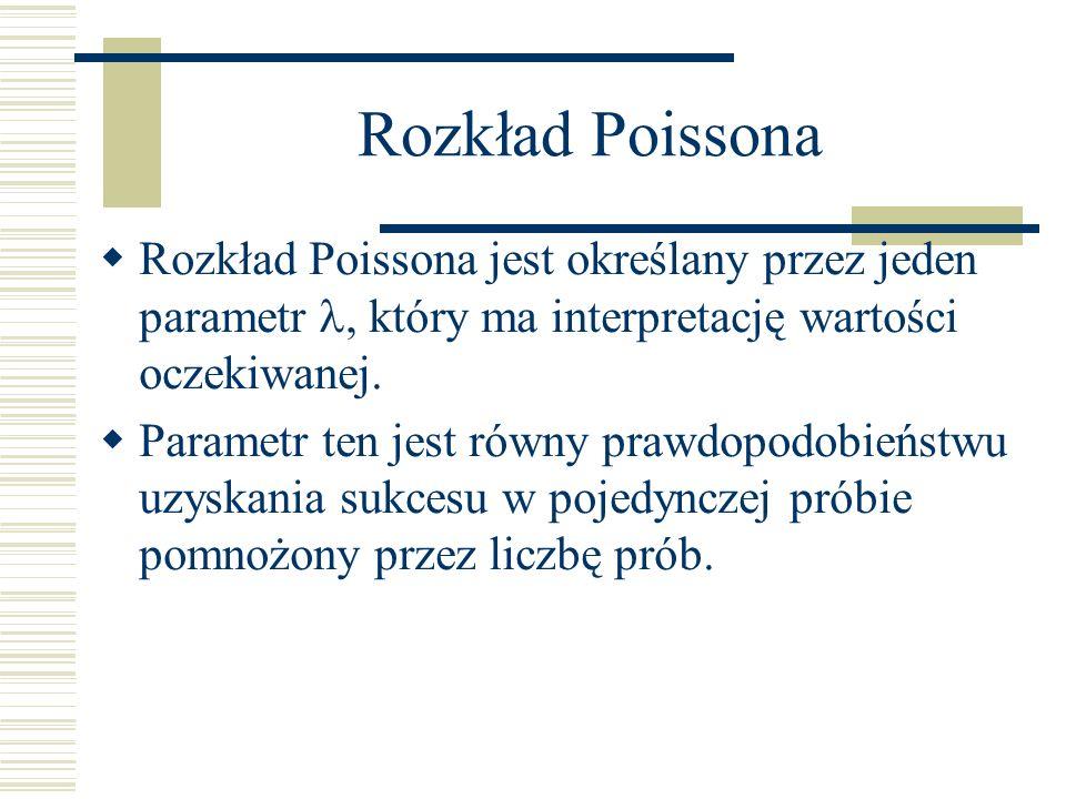 Rozkład Poissona Rozkład Poissona jest określany przez jeden parametr , który ma interpretację wartości oczekiwanej.