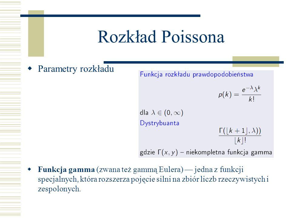 Rozkład Poissona Parametry rozkładu