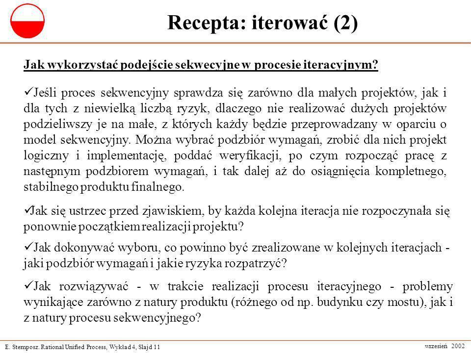 Recepta: iterować (2) Jak wykorzystać podejście sekwecyjne w procesie iteracyjnym