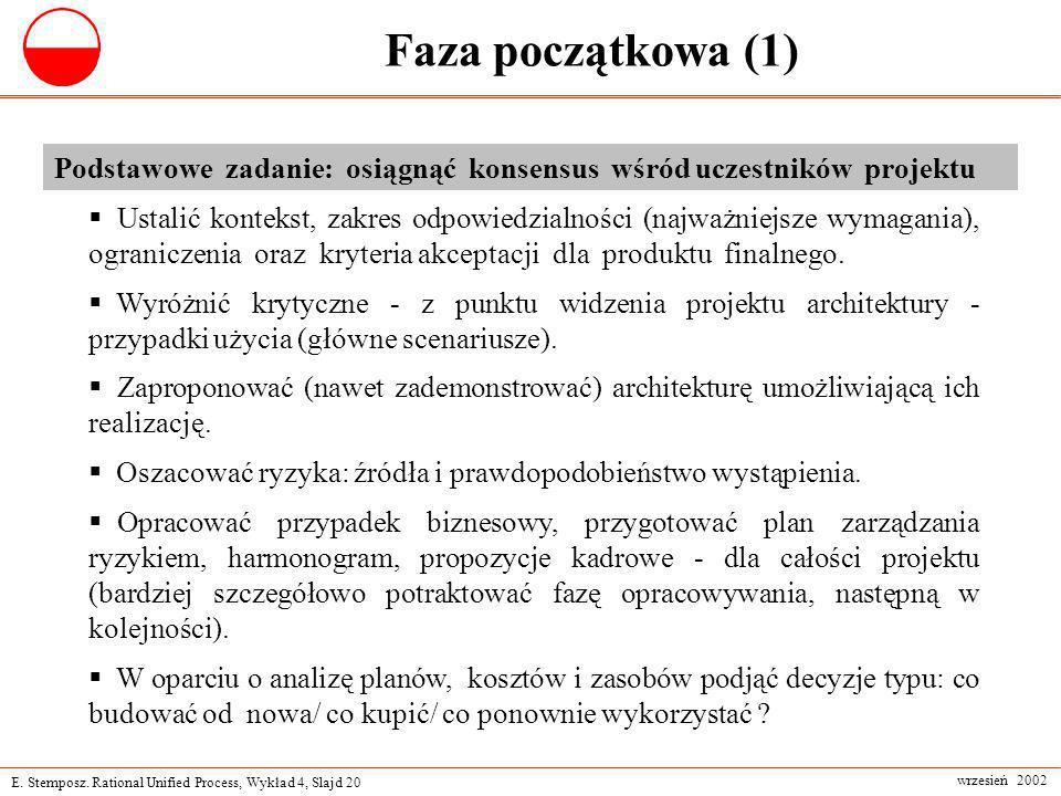 Faza początkowa (1) Podstawowe zadanie: osiągnąć konsensus wśród uczestników projektu.