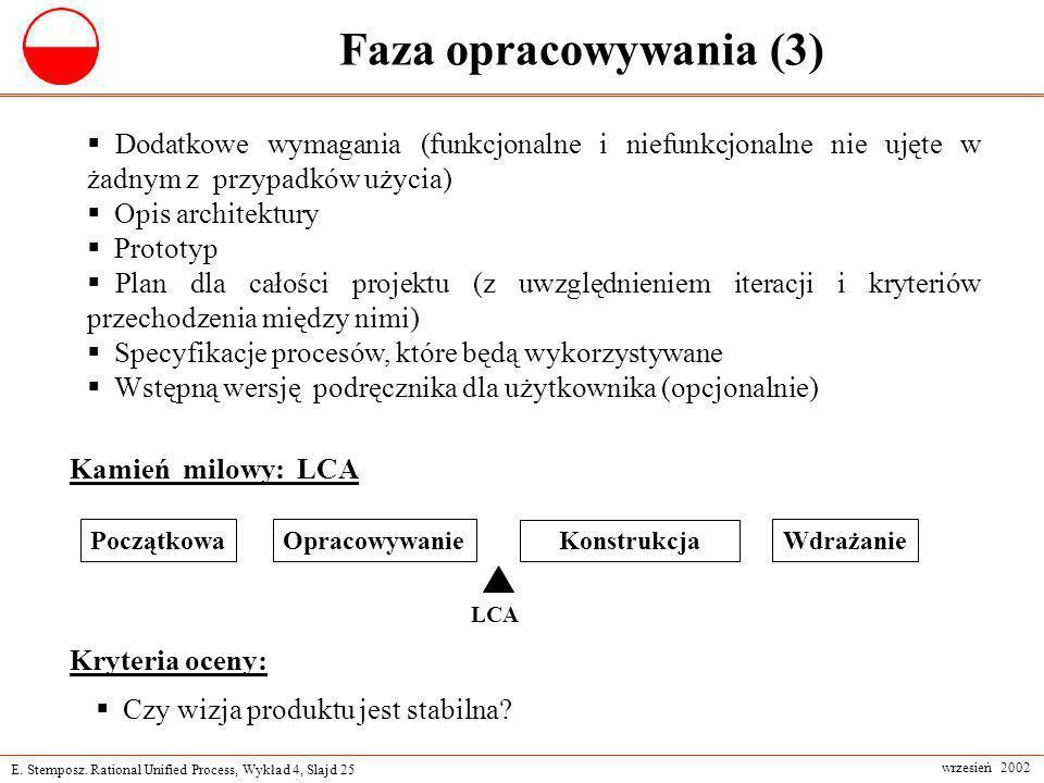 Faza opracowywania (3) Dodatkowe wymagania (funkcjonalne i niefunkcjonalne nie ujęte w żadnym z przypadków użycia)