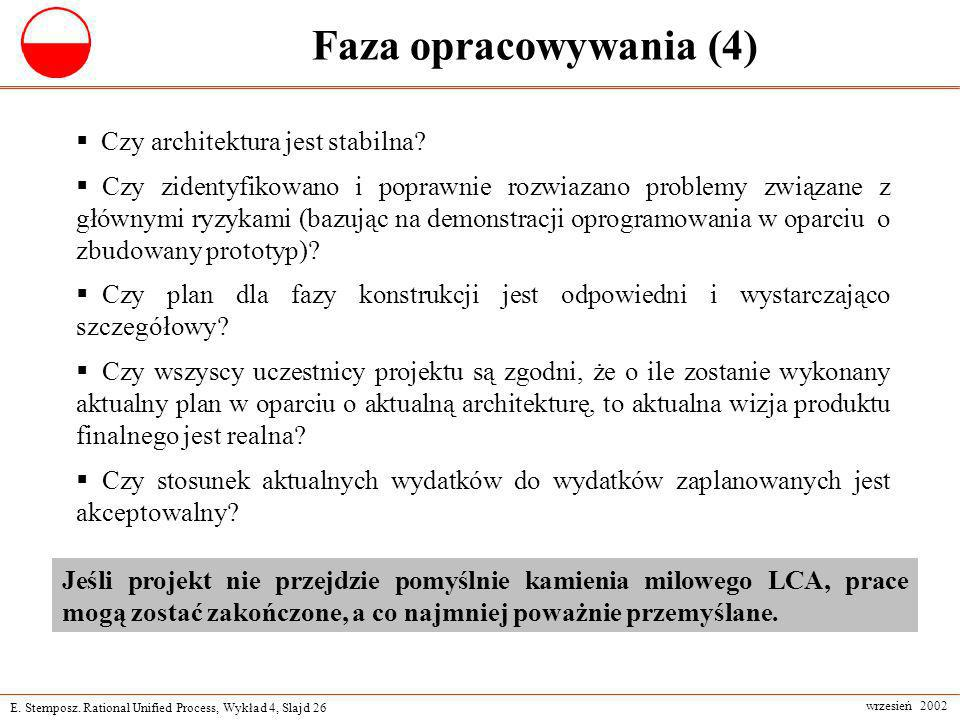 Faza opracowywania (4) Czy architektura jest stabilna