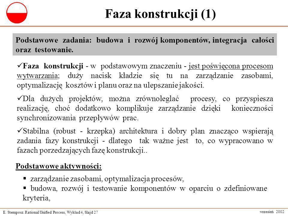 Faza konstrukcji (1) Podstawowe zadania: budowa i rozwój komponentów, integracja całości oraz testowanie.