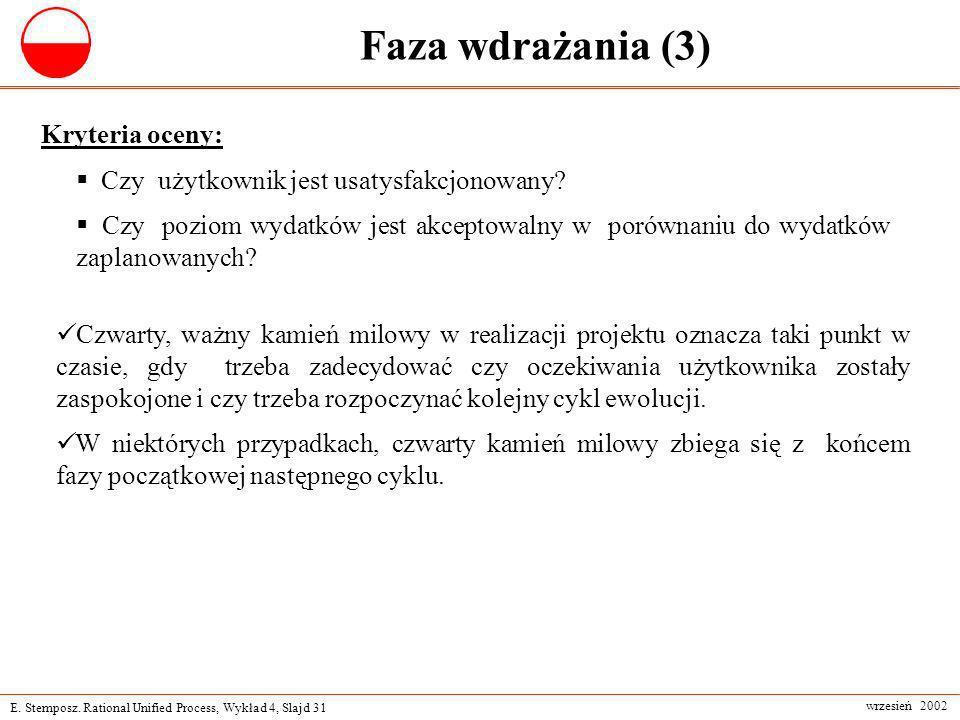 Faza wdrażania (3) Kryteria oceny: