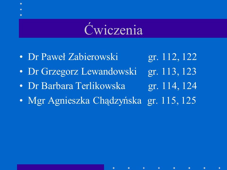 Ćwiczenia Dr Paweł Zabierowski gr. 112, 122