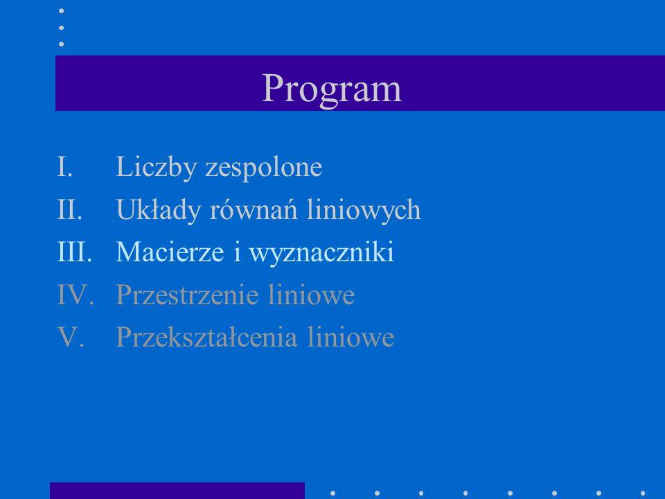 Program Liczby zespolone Układy równań liniowych