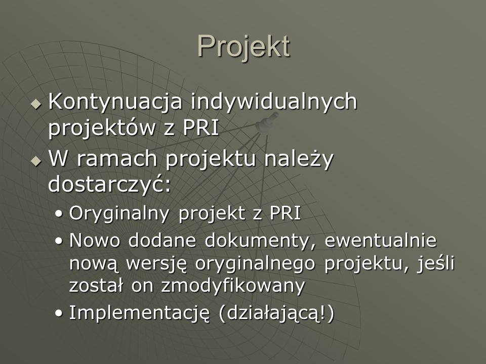 Projekt Kontynuacja indywidualnych projektów z PRI