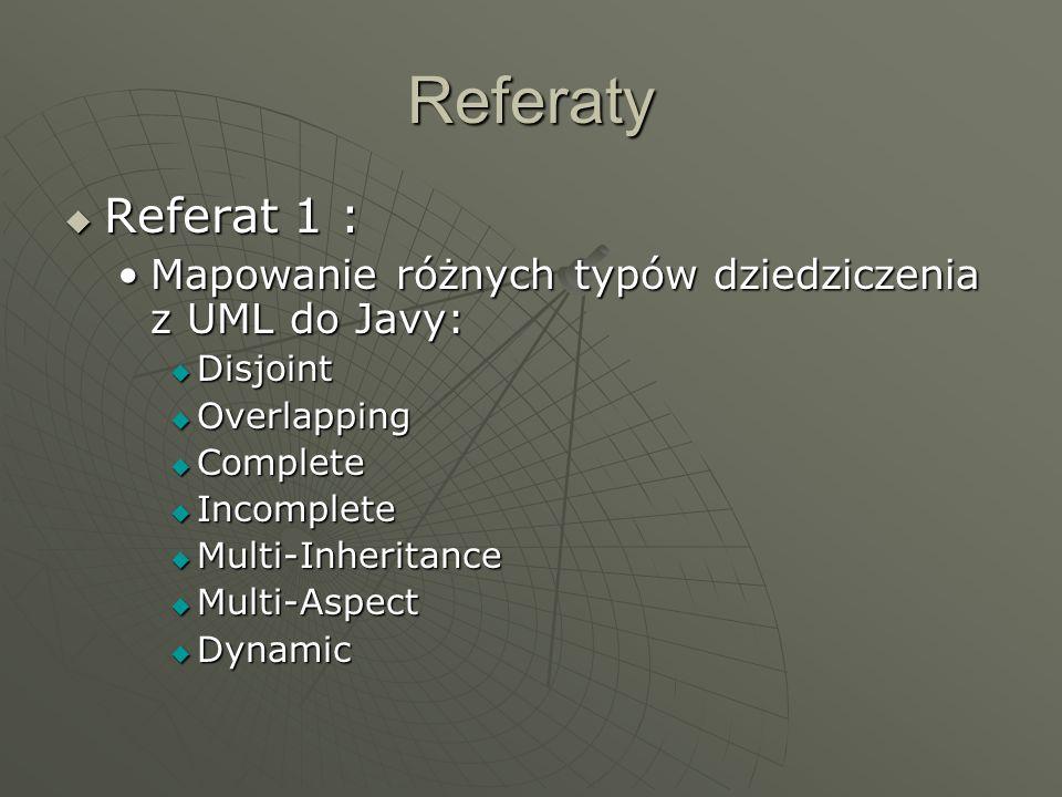 ReferatyReferat 1 : Mapowanie różnych typów dziedziczenia z UML do Javy: Disjoint. Overlapping. Complete.