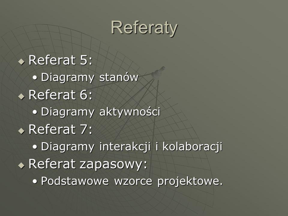 Referaty Referat 5: Referat 6: Referat 7: Referat zapasowy: