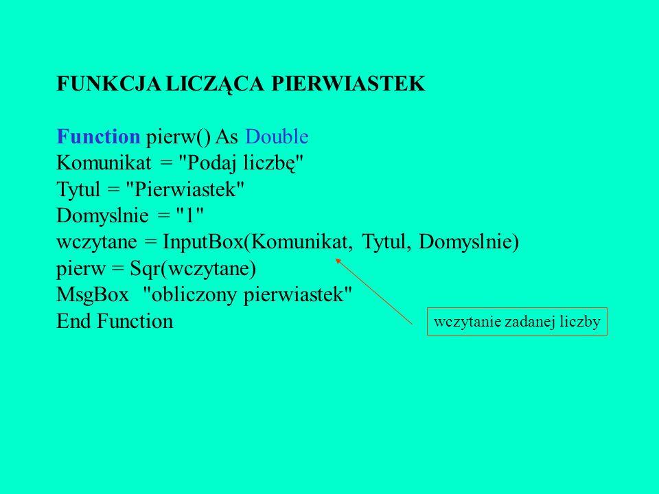 FUNKCJA LICZĄCA PIERWIASTEK Function pierw() As Double