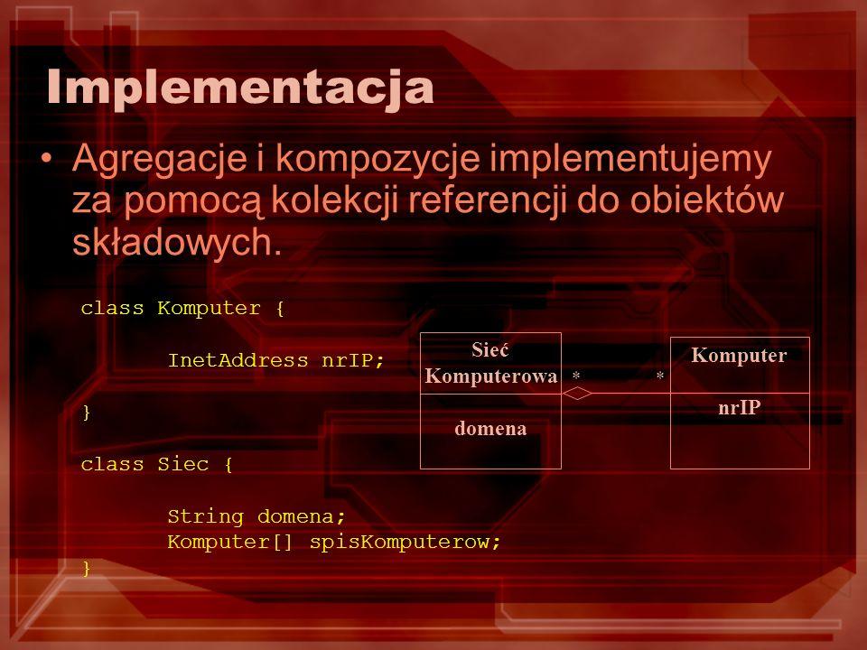 Implementacja Agregacje i kompozycje implementujemy za pomocą kolekcji referencji do obiektów składowych.