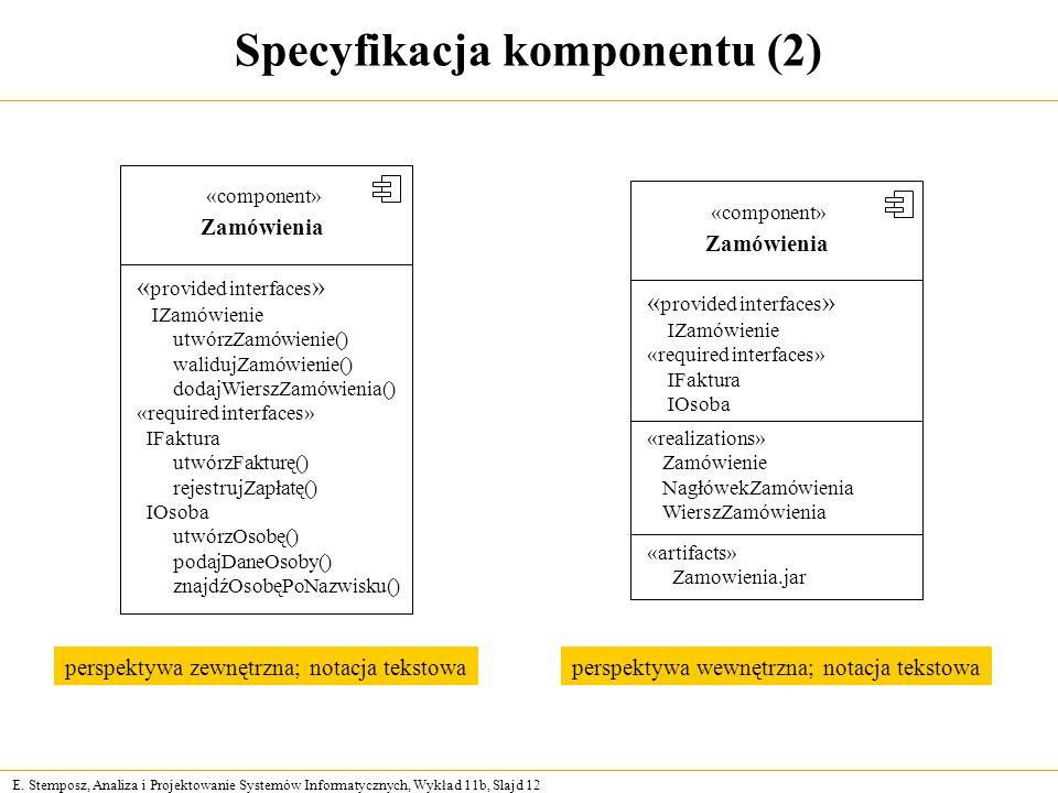 Specyfikacja komponentu (2)