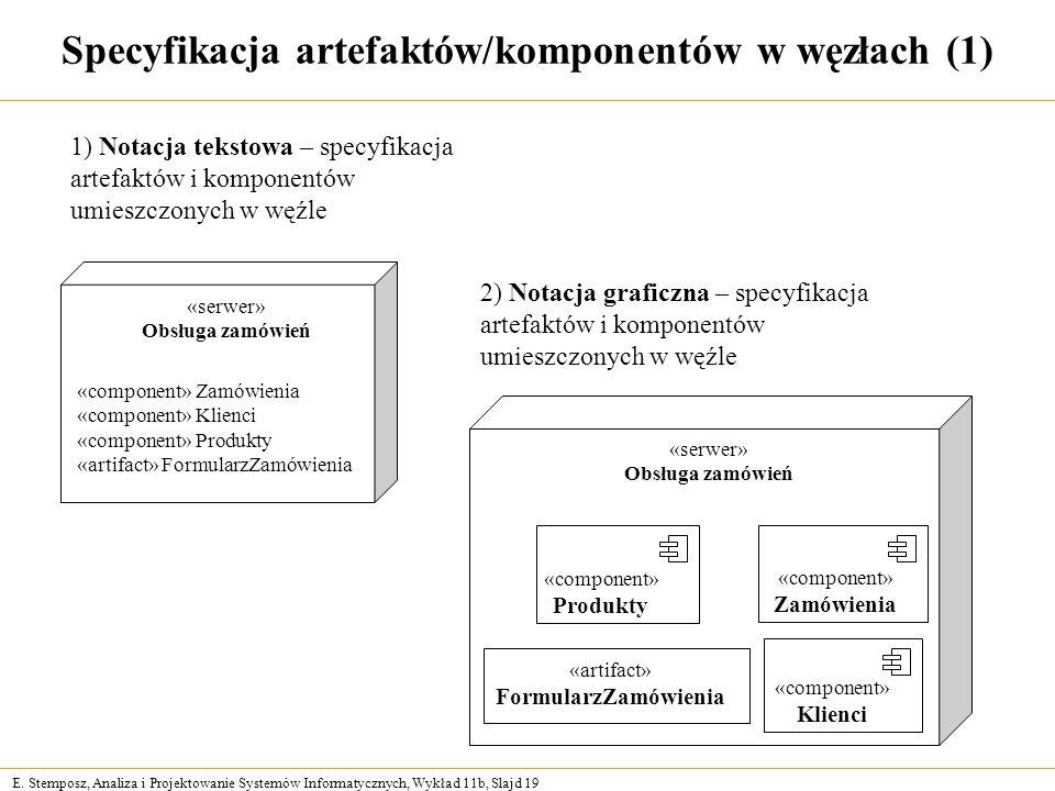Specyfikacja artefaktów/komponentów w węzłach (1)
