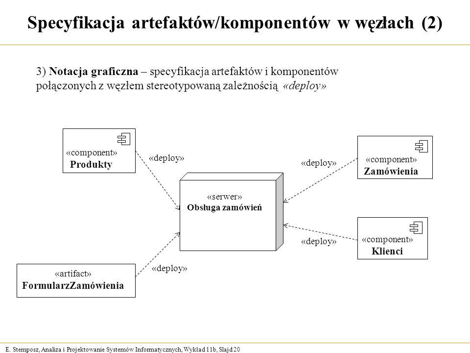 Specyfikacja artefaktów/komponentów w węzłach (2)