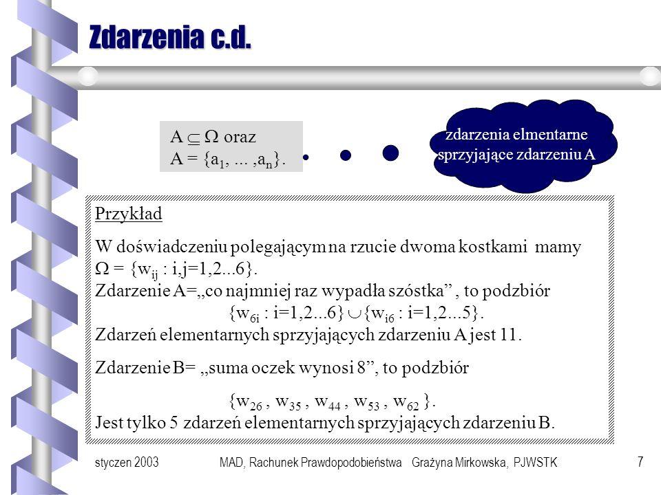 Zdarzenia c.d. A   oraz A = {a1, ... ,an}. Przykład