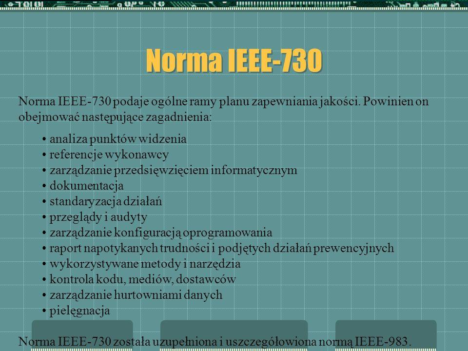 Norma IEEE-730 Norma IEEE-730 podaje ogólne ramy planu zapewniania jakości. Powinien on obejmować następujące zagadnienia:
