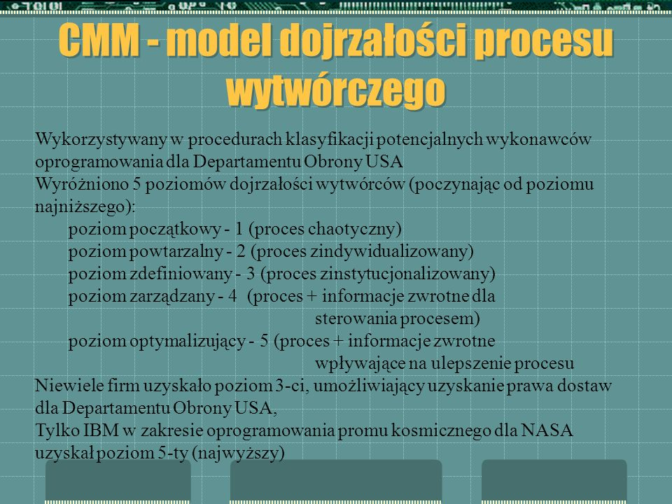 CMM - model dojrzałości procesu wytwórczego