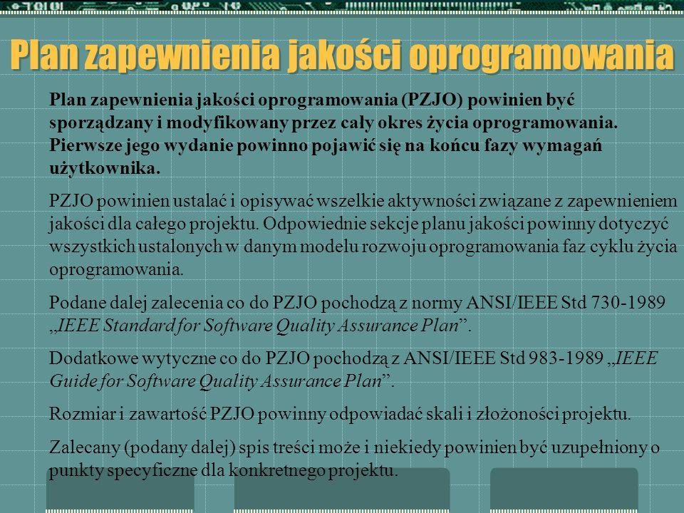 Plan zapewnienia jakości oprogramowania