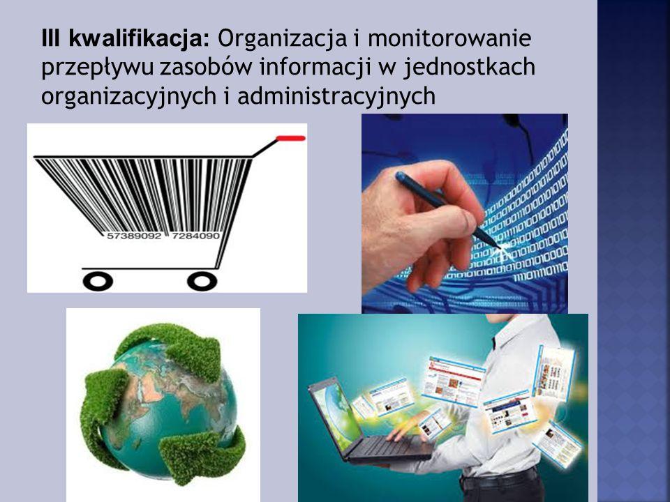 III kwalifikacja: Organizacja i monitorowanie przepływu zasobów informacji w jednostkach organizacyjnych i administracyjnych
