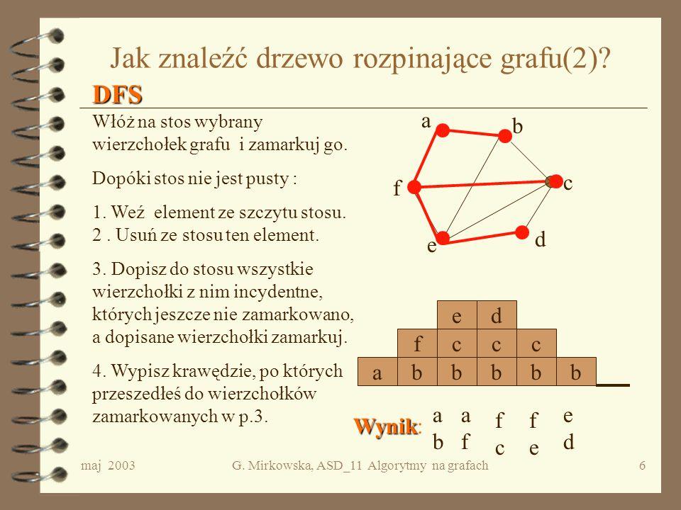 Jak znaleźć drzewo rozpinające grafu(2)
