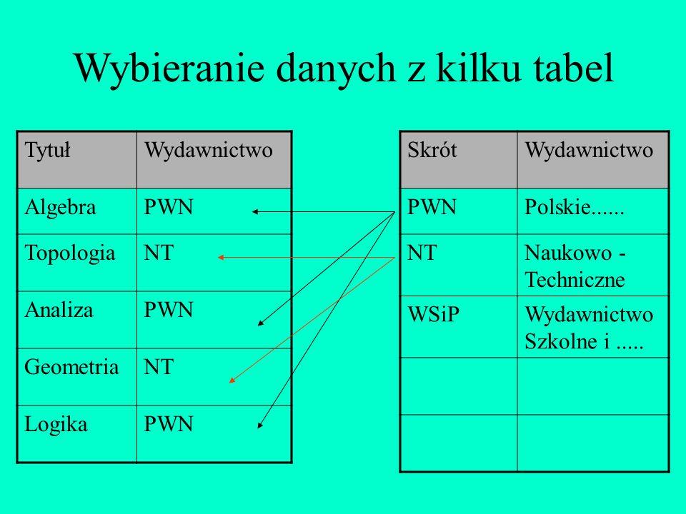 Wybieranie danych z kilku tabel