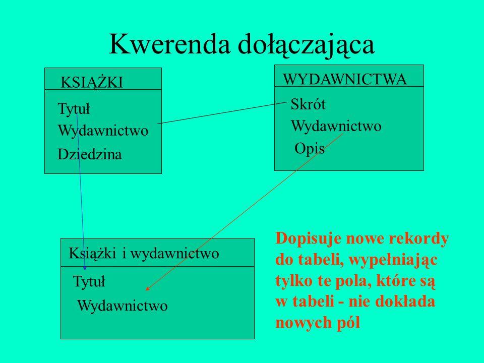 Kwerenda dołączającaTytuł. Wydawnictwo. KSIĄŻKI. WYDAWNICTWA. Skrót. Opis. Dziedzina.