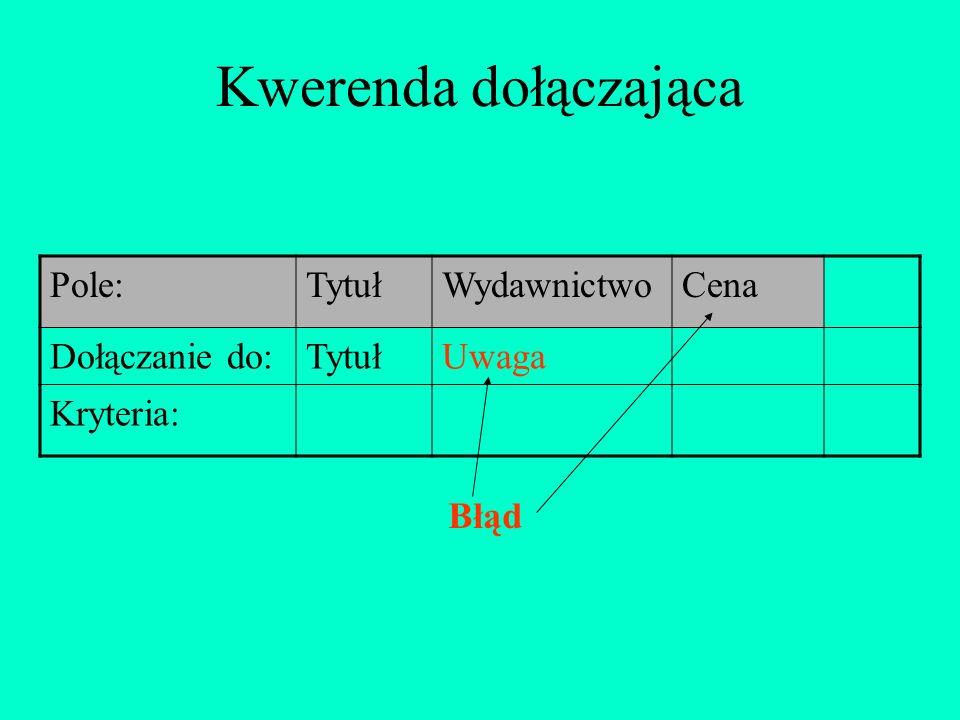 Kwerenda dołączająca Pole: Tytuł Wydawnictwo Cena Dołączanie do: Uwaga