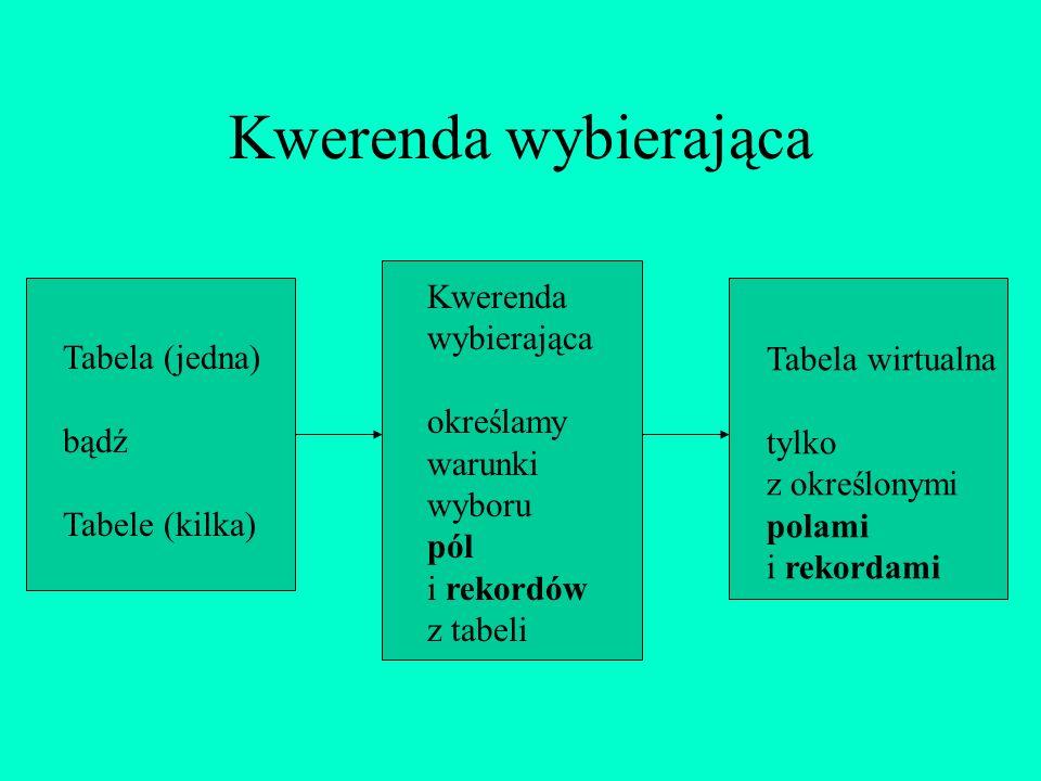 Kwerenda wybierająca Kwerenda wybierająca określamy warunki wyboru pól