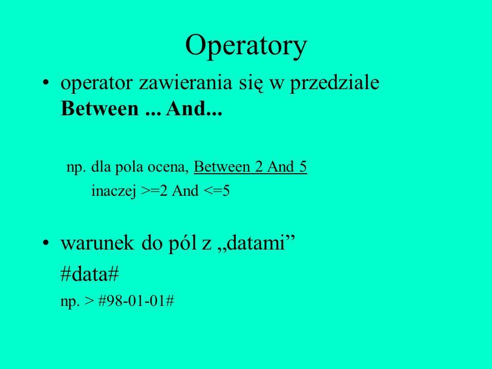 Operatory operator zawierania się w przedziale Between ... And...